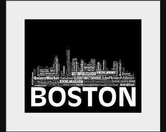 Boston Skyline Word Art 2 Typography Print Poster Map