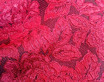 3 Yards Dark Cranberry Red Rose Brocade Fabric•Renaissance Fabric•Tudor•Decorator Fabric•Cosplay•Steampunk•Blood Red•Goth•Medieval•Costume