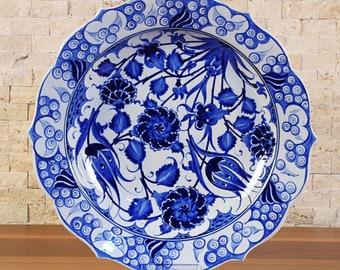 """Handmade Handpainted Turkish Ottoman Ceramic Plate 12"""" Diameter"""