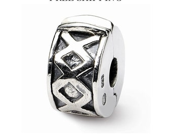 Sterling Silver Hinged X Clip Bead