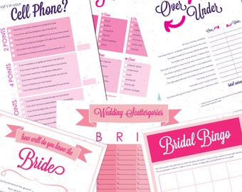 Bridal Shower Game Pack! 8.5x11 Printable [Instant Download] PDF