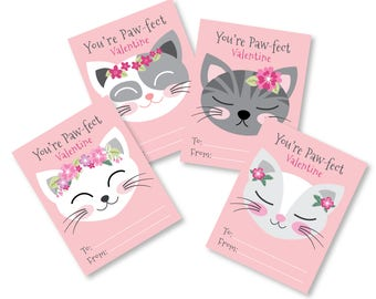Cat Valentines Day Cards / printable DIY card / classroom Valentine for kids / Instant Download Valentine Cards