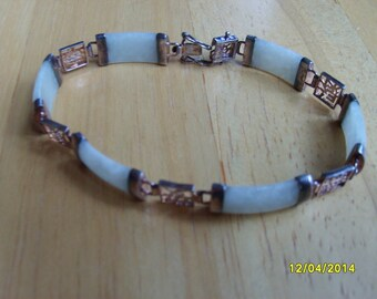Jade Bracelet, Sterling Silver Bracelet, Chinese jade, Jade Jewelry, Jade and Sterling Bracelet
