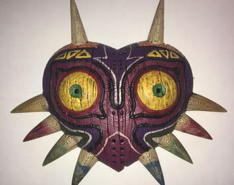Legend of Zelda Majoras Mask 3D Printed and Hand Painted wall hanging miniature!