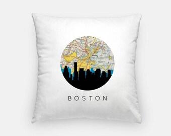 Boston pillow | Boston Skyline Art Pillow | Boston Massachusetts pillow | Boston home decor | throw pillow | city skyline pillow