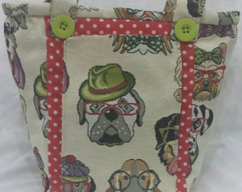 Quirky comic Dogs, Tapestry , Vegan, Handmade cross body bag.