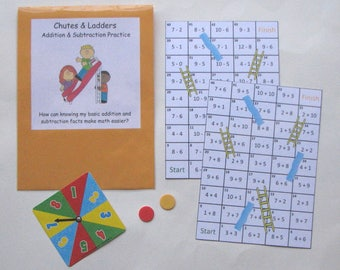 Teacher Made Math Center Resource Chutes and Ladders Basic Addition & Subtraction Facts