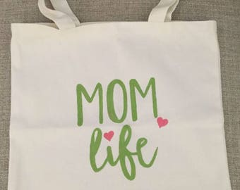 Mom Life Canvas Tote