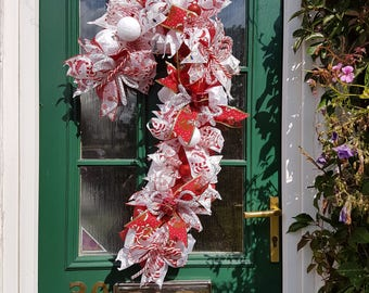 Candy cane, deco mesh, wreath,door decor,decoration,Christmas,Candy cane,red