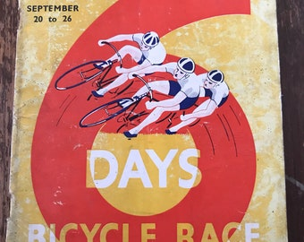 1936 Wembley 6 days bicycle race programme, vintage cycling