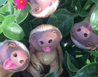 Pocket Sloth- Handcast/Hand-Painted Resin Figure