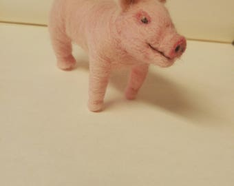 miniature pig needle felted sculpture