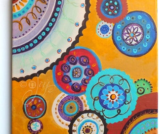 Mandalas, Abstract 12x12 inch acrylic painting, art for office, home decor