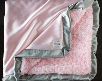 Minky Blanket, pink blanket, gift for baby girl, silk blanket, minky and satin, baby blanket, baby girl, grey and white, baby gift, shower