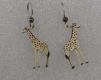 "Fun Giraffe Earrings Painted Metal  1 7/8"" Long"
