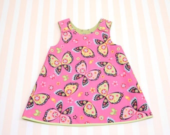 6 - 12 months, pink baby girl dress with butterflies, reversible a-line dress, pinafore dress with snaps, summer outfit, pink girls tunic