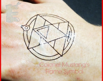 FMA Roy Mustang's Flame Temporary Tattoo with bonus Alchemy Symbols