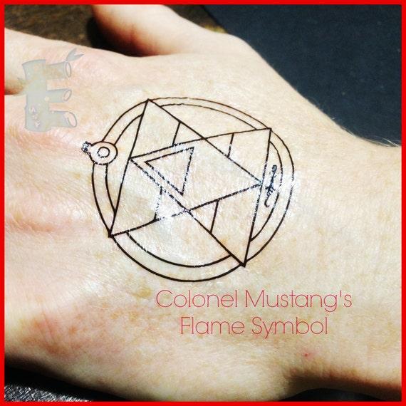 FMA Roy Mustangs Flame Temporary Tattoo With Bonus