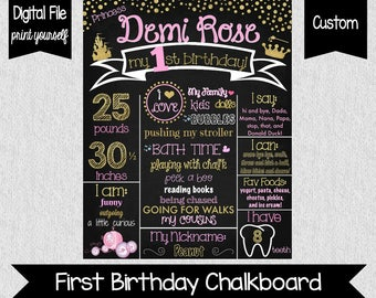 Princess First Birthday Chalkboard - Digital - Pink and Gold First Birthday - Princess 1st Birthday - Girls First Birthday Poster - Glitter