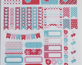 Winter Mitten Weekly Planner Sticker Kit for ECLPs, Life Planners, Plum Paper, and Scrapbooks
