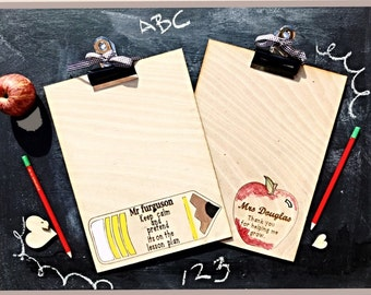 Personalised  teacher clipboard , Teacher gift, End Of year gift for teacher,  Wooden clipboard.  Teacher appreciation gift.