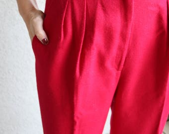 Vintage Red Wool Panther Cigarette Pants