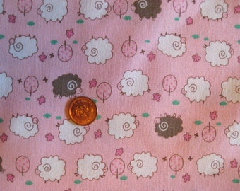 """Cute sheep in pink background - FQ x 1 ( 18"""" x 20"""")"""