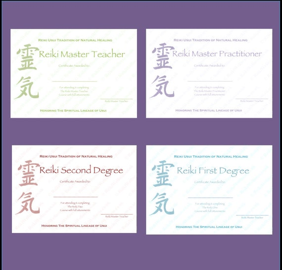 Download complete set reiki certificate templates x4 yelopaper Image collections