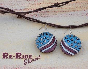 Leather Earrings- Stars & Stripes