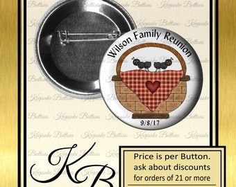 """Family Reunion Pins, 2.25"""" Family Picnic Buttons, Family Picnic, Reunion Souvenir, Party Favors, Pins, Magnets, Pocket Mirrors, Key Chains"""
