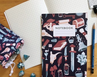 Fantasy pattern notebook - Dotted, lined or plain pages  |  sketchbook  |  D&D / RPG notebook | potions, magic, swords and scrolls |