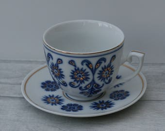 Blue and White Teacup and Saucer, Home decor. hostess gift.