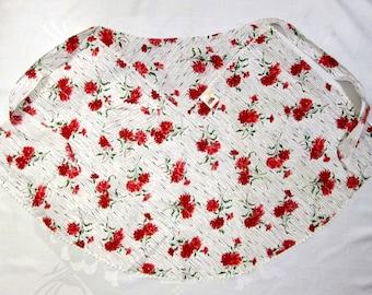 Vintage Half Apron Red White Floral Carnations Retro Mid Century Kitchen Linens Fruit of the Loom Cottage Decor MWT Unused Vintage Linens