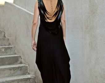 Black Backless Dress / Black Leather Fringes Dress / Backless Maxi Dress / Fringe Backless Dress TDK140