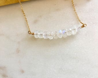 Mothers Day Gift Rainbow Moonstone Necklace Bridesmaid Necklace Minimalist Necklace Fertility Necklace IVF Gift for Her Bridal Necklace