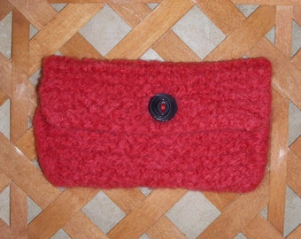 Credit card case, felted bag, business card holder, gift card wrapper, lipstick keeper, coin purse, jewelry keeper, coral