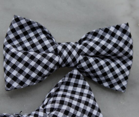 Men's Black and White Gingham Bow Tie - clip on, pre-tied with adjustable strap or self tying