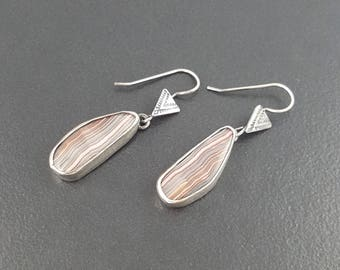 Crazy Lace Agate Earrings, sterling silver, dangle earrings, pink  gray silver, crazy lace agate, michele grady, stamped earrings, boho