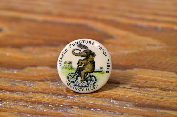 Antique Bicycle Pin Advertising, Stahls Puncture Proof Tires, Early 1900s Lapel Stud