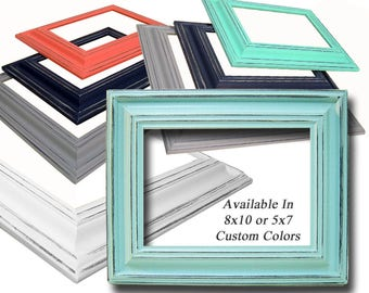Picture Frame 5x7 Frame or 8x10 Frame Picture Frames Distressed Frames Wide Wood Picture Frames Custom Colors 5x7 Picture Frame 8x10