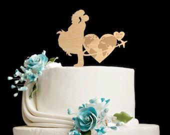 Travel wedding cake topper,travel wedding cake,travel wedding topper,travel themed cake topper,wedding airplane cake topper,6622017