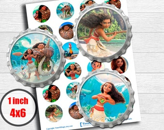 "Moana Disney Digital Collage Sheet 1"" inch 25mm Bottlecap Printable Image Download for pendants magnets party cupcake toppers"