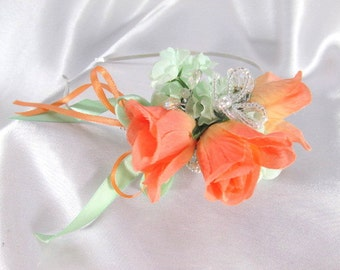 Peach and Mint Silk Flower and Silver Filigree Metal Headband