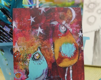2 Funky Birds I Love You More Note Cards in teal, red,and yellow  by Jodi ohl