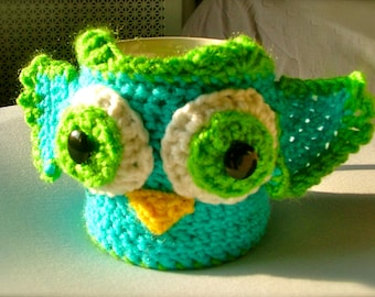 Crochet Owl Coffee Cup Cozy