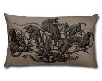 Decorative Pillow - Seven Deadly Sins Art Print Throw Pillow - Home Decor Accent Pillows - Demon Gargoyle - Grotesque Faces and Creatures