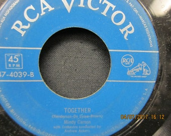 Mindy Carson -Together & Button Up Your Overcoat - RCA Victor 45 RPM