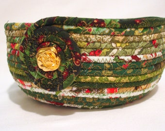 Handmade Coiled Fabric Bowl in Sparkling Christmas Green, Gift
