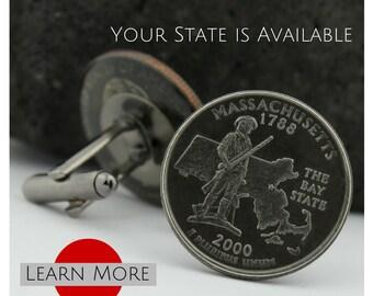 Massachusetts Cufflinks (Cuff links) - Bay State Cuff links - Minuteman Cufflinks - Custom State Quarter Cufflinks - Groom Gift  - Concord