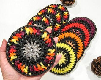Large Autumn Dish Scrubbies - Set of 8 - Fall Colored Nylon Pot Scrubbers - Crochet Tawashi Scrubby